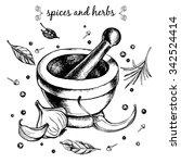 mortar and pestle  garlic  hot...   Shutterstock .eps vector #342524414
