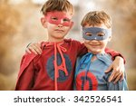 portrait of two boys in a... | Shutterstock . vector #342526541