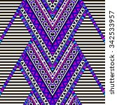 multicolor zigzag tribal navajo ... | Shutterstock .eps vector #342533957