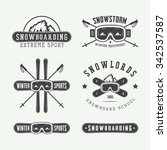 vintage snowboarding or winter... | Shutterstock .eps vector #342537587