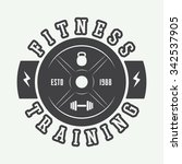 gym logo in vintage style.... | Shutterstock .eps vector #342537905