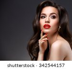beauty model woman with long... | Shutterstock . vector #342544157