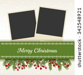 christmas card with photo frame | Shutterstock .eps vector #342548921