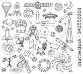 doodle space elements. vector... | Shutterstock .eps vector #342550301