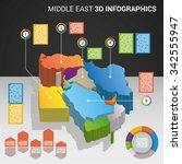 infographics with the 3d maps... | Shutterstock .eps vector #342555947
