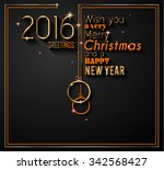 2016 happy new year and merry... | Shutterstock . vector #342568427