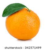 Ripe Mandarin With Leaf Close...