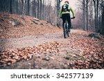 mountain biker on cycle trail... | Shutterstock . vector #342577139