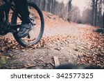mountain biker on cycle trail... | Shutterstock . vector #342577325