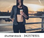 an athletic young woman with... | Shutterstock . vector #342578501