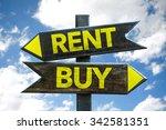 rent   buy signpost with sky... | Shutterstock . vector #342581351