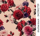 seamless floral pattern with... | Shutterstock . vector #342581759