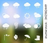 Weather Vector Icons On Blurre...