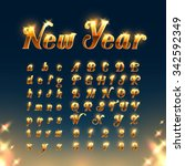 happy new year with golden... | Shutterstock .eps vector #342592349