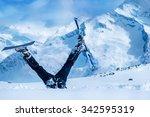 newbie skier stuck  in deep...   Shutterstock . vector #342595319