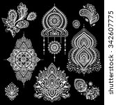 set of ornamental indian... | Shutterstock .eps vector #342607775