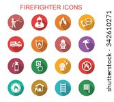 firefighter long shadow icons ... | Shutterstock .eps vector #342610271