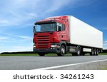 lower camera view of red lorry... | Shutterstock . vector #34261243