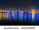 illuminated railway bridge and... | Shutterstock . vector #342620849