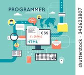 programming and coding concept. ... | Shutterstock .eps vector #342623807