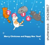 merry christmas card with... | Shutterstock .eps vector #342628817