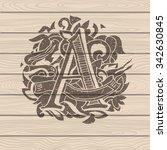 baroque letters of the alphabet ... | Shutterstock .eps vector #342630845