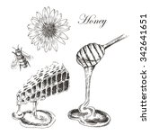 vector honey  honey cells ... | Shutterstock .eps vector #342641651