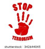 bloody hands stop terrorism sign | Shutterstock . vector #342644045