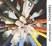 group of diverse hands together ... | Shutterstock . vector #342648881
