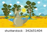 cartoon australian animal scene ... | Shutterstock . vector #342651404