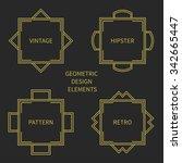 set of line retro gold frame...   Shutterstock .eps vector #342665447