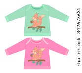 baby clothes with cartoon... | Shutterstock .eps vector #342678635
