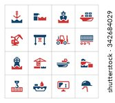 set color icons of seaport... | Shutterstock .eps vector #342684029