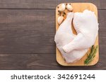 Raw Chicken Leg On Cutting...