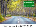 naypyidaw road sign against... | Shutterstock . vector #342695195