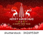 christmas tree and reindeer... | Shutterstock .eps vector #342695369
