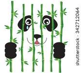 panda in bamboo prison. vector... | Shutterstock .eps vector #342712064