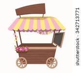 shop on wheels with flower.... | Shutterstock .eps vector #342713771