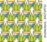 seamless pattern of cacti and... | Shutterstock .eps vector #342719711