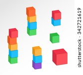 set of 3d cube combinations.... | Shutterstock .eps vector #342721619