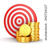 target and gold coins | Shutterstock . vector #342724127