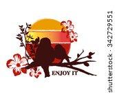 sunset birds silhouette  great... | Shutterstock .eps vector #342729551