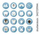 arctic animals flat icons set ... | Shutterstock .eps vector #342729944