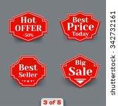 set of red sale retro labels....   Shutterstock . vector #342732161
