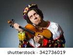 funny violin clown player in...   Shutterstock . vector #342736019