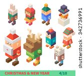christmas and new year... | Shutterstock .eps vector #342736991