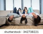 happy family hanging upside... | Shutterstock . vector #342738221