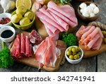 antipasti platter on wooden... | Shutterstock . vector #342741941
