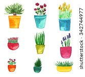 a set of potted plants | Shutterstock . vector #342744977