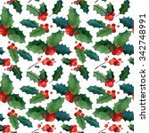 watercolor seamless christmas... | Shutterstock . vector #342748991